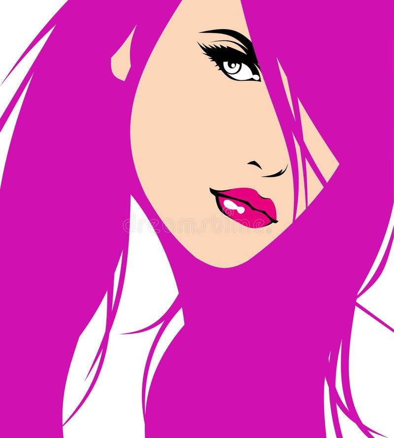 nätt kvinna för framsida vektor illustrationer