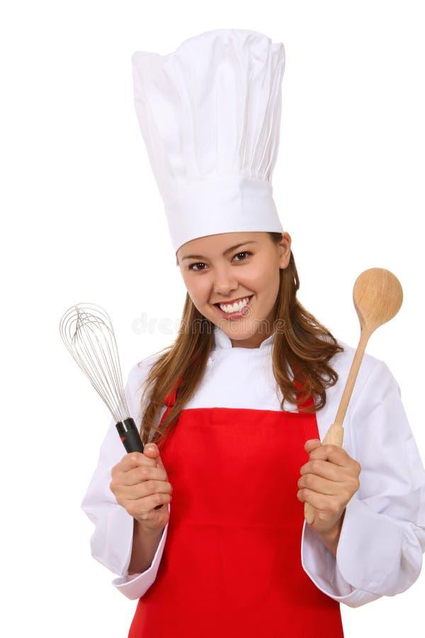 nätt kvinna för kock royaltyfri bild
