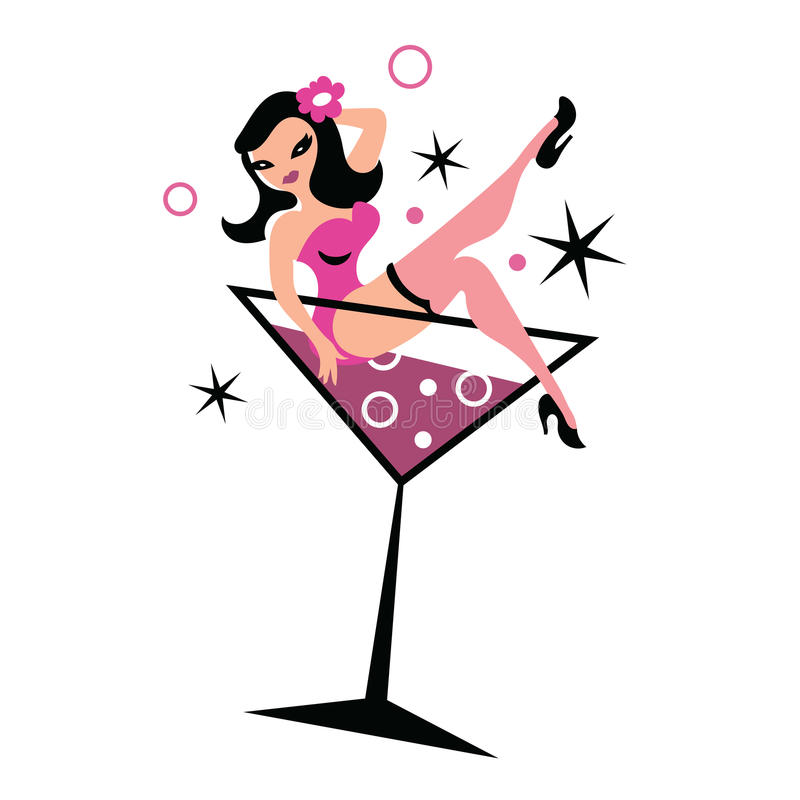 Nätt kvinna i martini exponeringsglas stock illustrationer