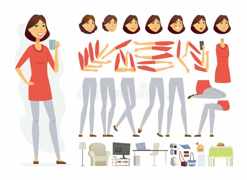 Nätt kvinna - konstruktör för tecken för vektortecknad filmfolk royaltyfri illustrationer