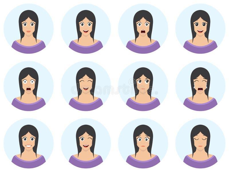 Nätt kvinna med den olika ansiktsuttryckuppsättningen Packe av sinnesrörelser - ung flickaavatar i plan tecknad filmstil Vektor I royaltyfri illustrationer