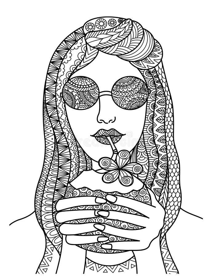 Nätt kvinna som dricker kokosnötfruktsaft royaltyfri illustrationer