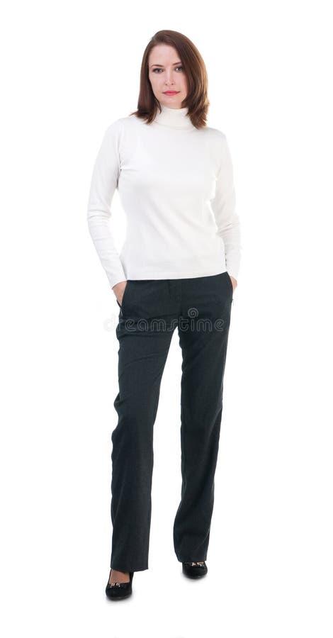 Nätt kvinna som isoleras på vit bakgrund arkivbilder
