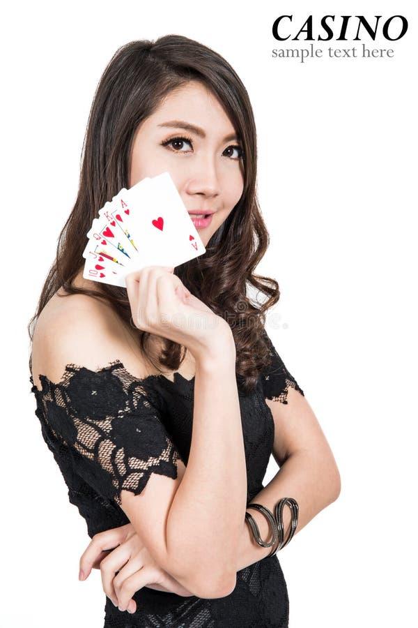 Nätt kvinnashow beståndsdelar för en kasino royaltyfria bilder