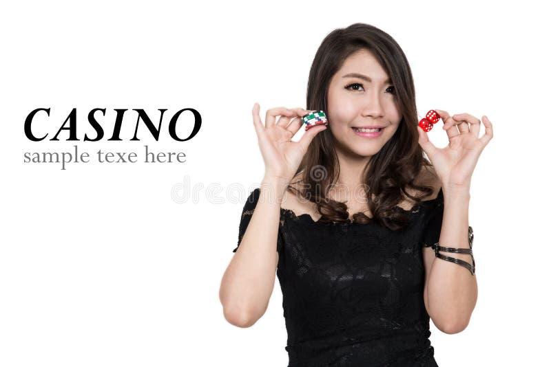 Nätt kvinnashow beståndsdelar för en kasino royaltyfri bild
