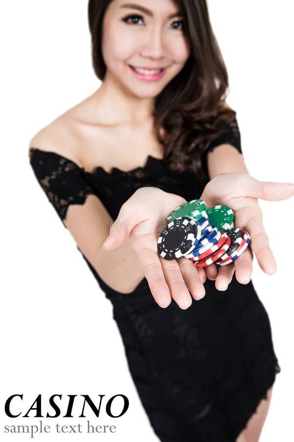 Nätt kvinnashow beståndsdelar för en kasino arkivbild