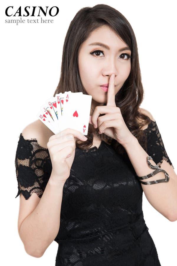 Nätt kvinnashow beståndsdelar för en kasino royaltyfri fotografi