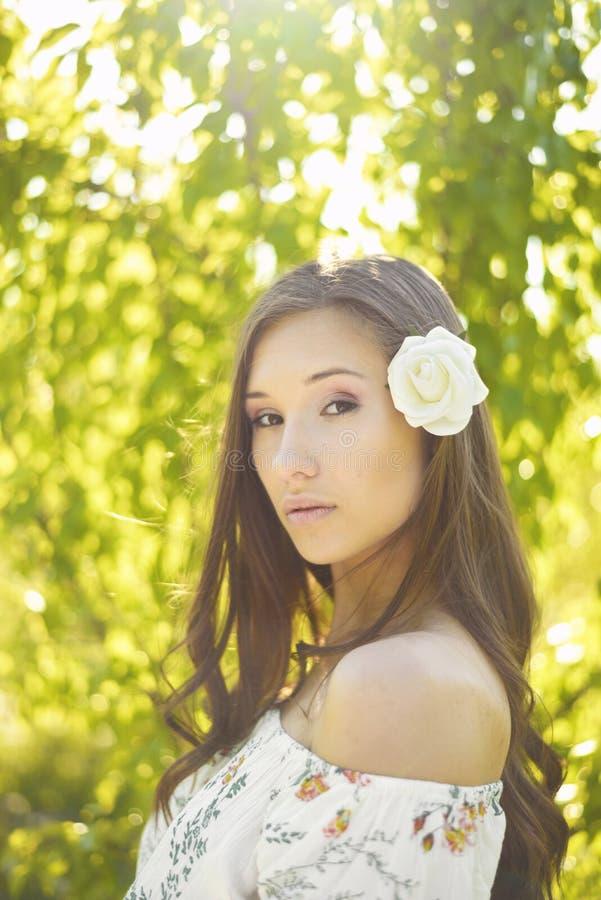 Nätt kvinnlig modell med den vita rosen i hennes hår som poserar med suddiga träd som tänds av solsken i bakgrunden royaltyfri foto