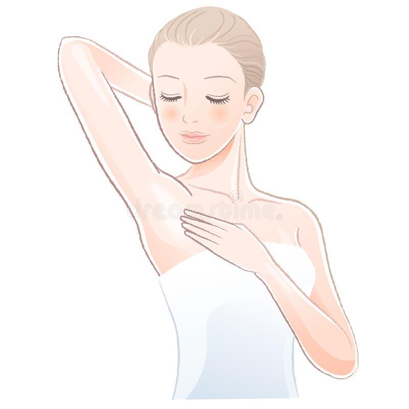 Nätt kvinnlig som trycker på och ser försiktigt hennes rena armhåla stock illustrationer