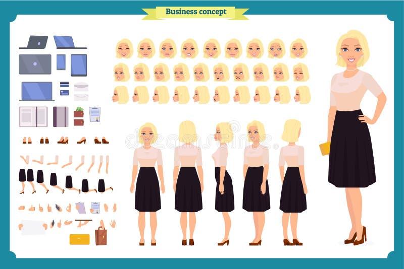 Nätt kvinnlig uppsättning för skapelse för tecken för kontorsanställd Den fulla längden, olika sikter, sinnesrörelser gör en gest stock illustrationer