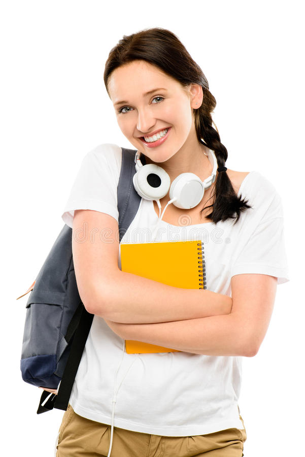 Nätt lycklig ung tonårs- skolflicka som isoleras på den vita backgrouen arkivbilder