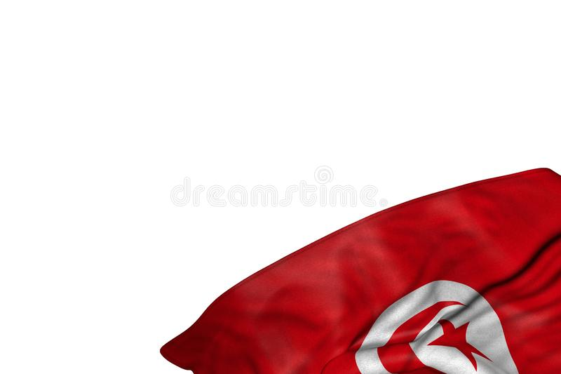 Nätt någon illustration för festmåltidflagga 3d - Tunisien flagga med stora veck som framlänges ligger i det nedersta högra hörne stock illustrationer
