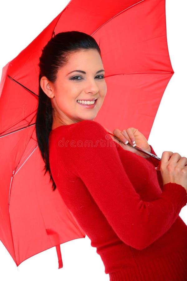 nätt paraplykvinna royaltyfria bilder
