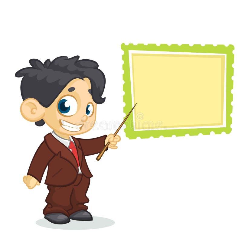 Nätt pojketecken för tecknad film i affärsfölje som pekar whiteboard Vektorillustration av litet framlägga för pojke vektor illustrationer