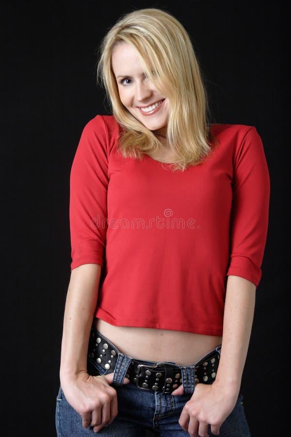 nätt röd kvinna royaltyfria foton