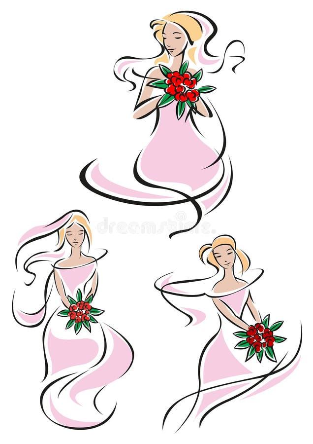 Nätt rosa kvinnligt skissar av en brud vektor illustrationer