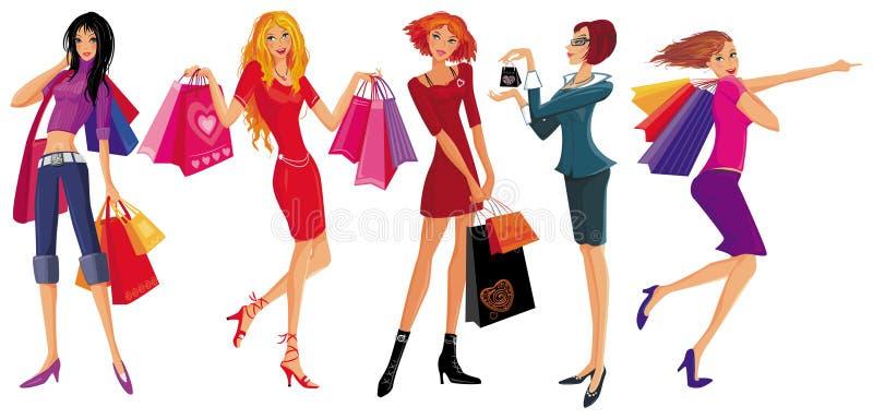 nätt shopping för flickor royaltyfri illustrationer
