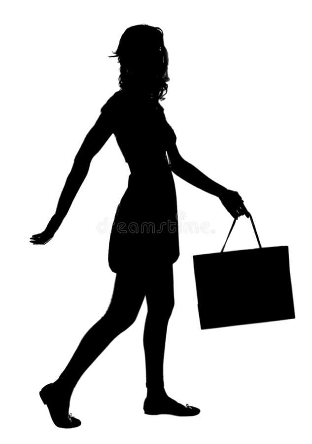 nätt shoppingkvinna royaltyfria foton