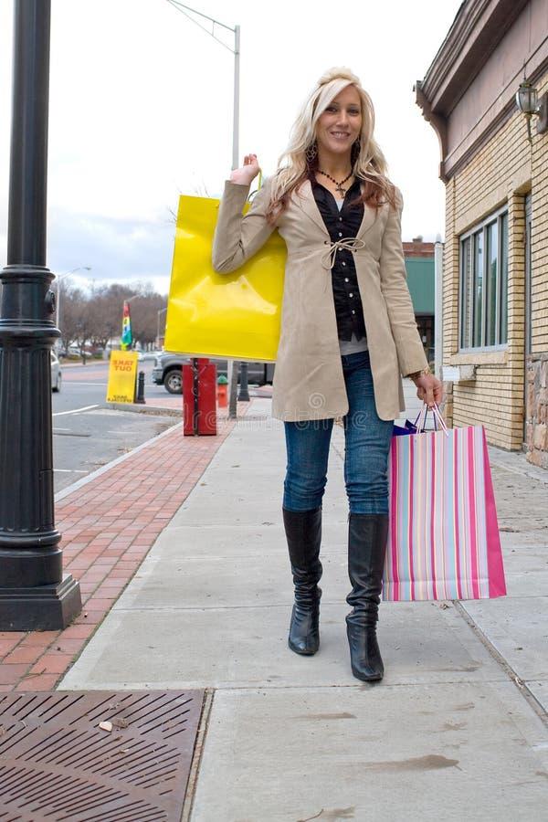 nätt shoppingkvinna royaltyfri foto