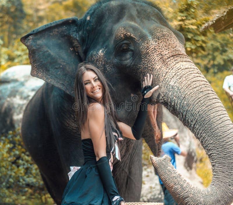 Nätt smailing elefantinstruktör med hennes husdjur royaltyfri foto