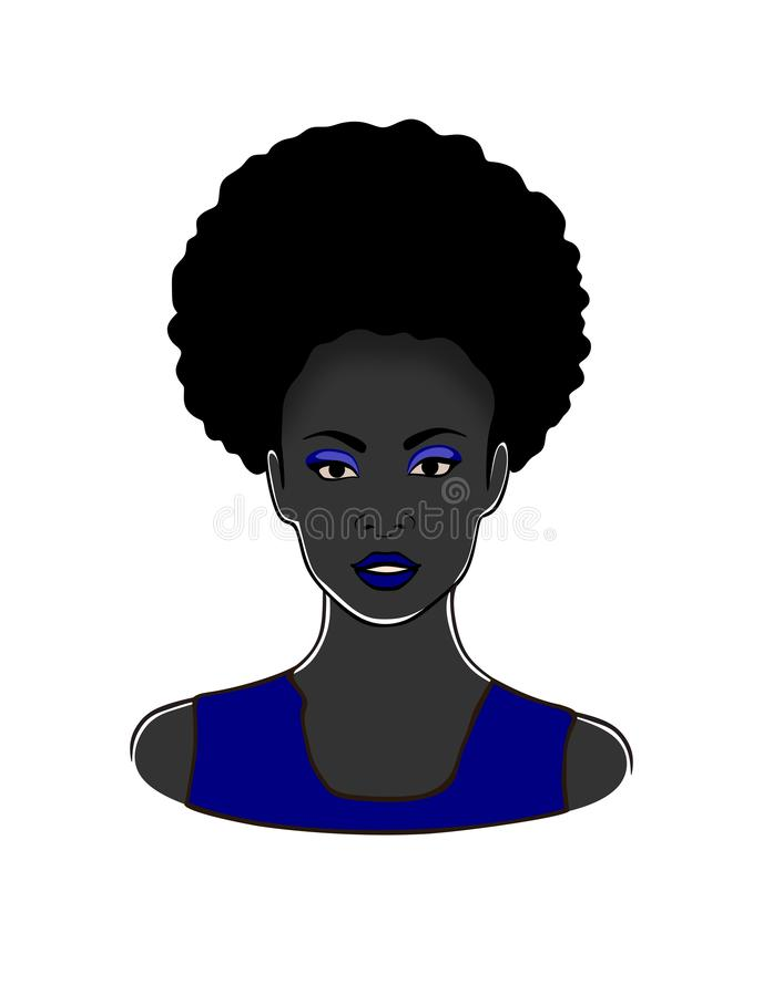 Nätt svart afrikansk amerikankvinna i blå illustration för klänningskönhetvektor vektor illustrationer