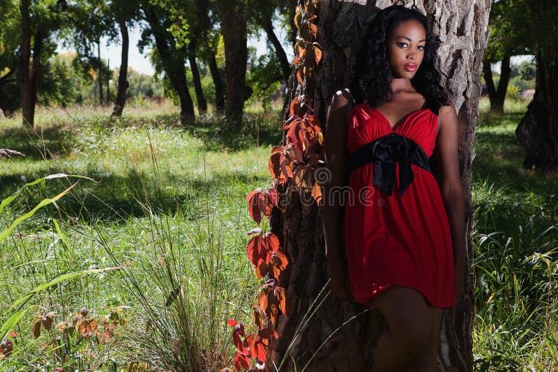 Nätt svart kvinna utanför fotografering för bildbyråer