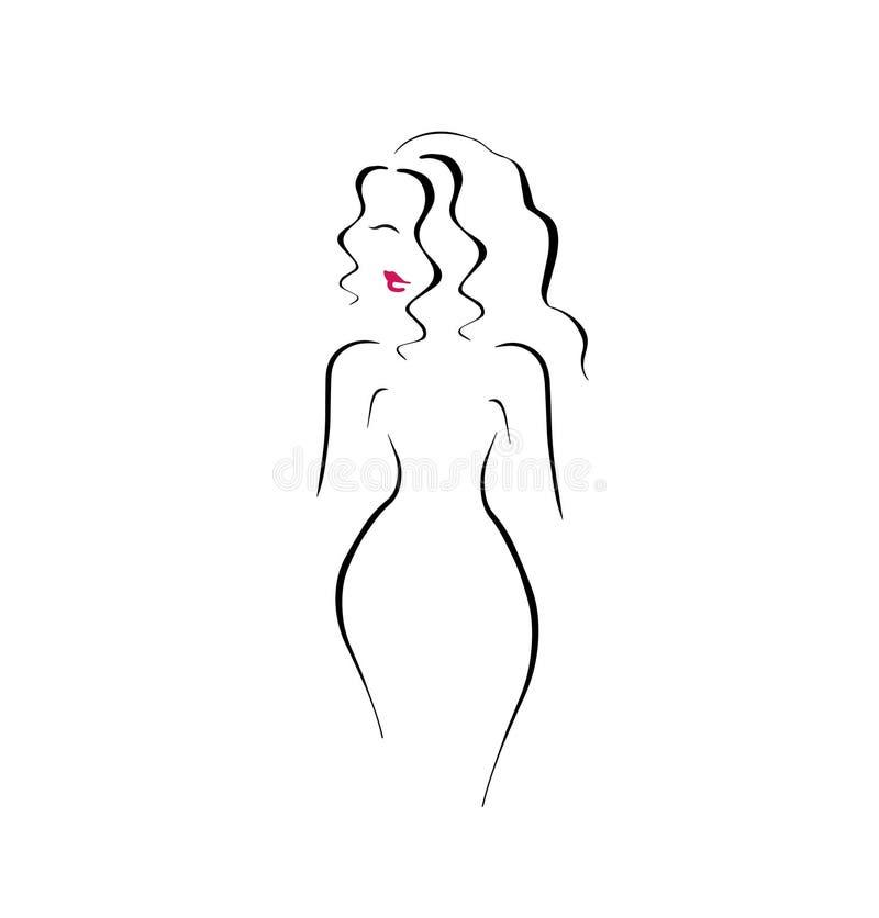 Nätt symbol Logo Vector för kanter för kvinnahårstil röd vektor illustrationer