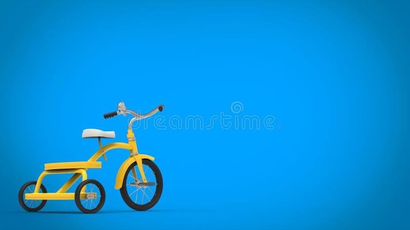 Nätt tappninggulingtrehjuling - blå bakgrund stock illustrationer