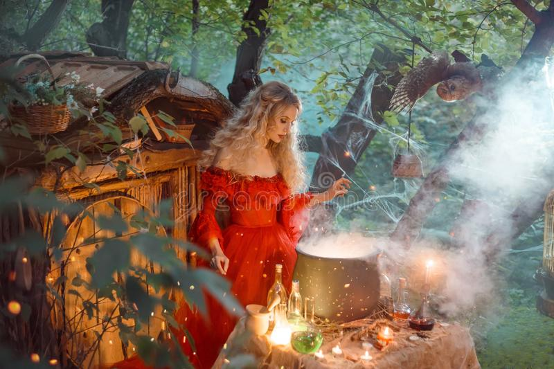 Nätt ung dam med blont lockigt hår ovanför den stora magiska kitteln med rök och flaskor med flytande, skognymf in arkivbild