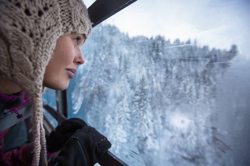 Nätt ung kvinna som beundrar storartat vinterlandskap royaltyfria foton
