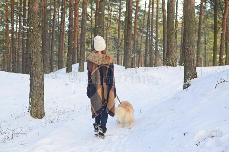Nätt ung kvinna som går med hennes hund royaltyfri bild