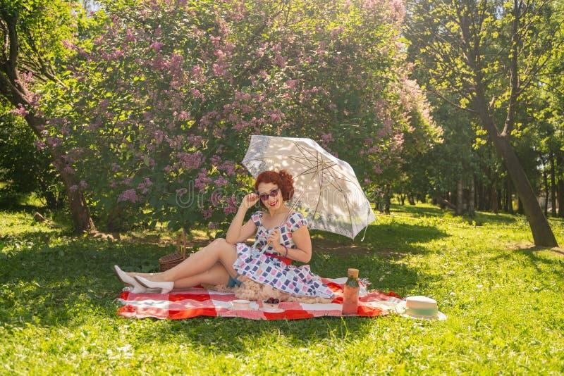 Nätt ungt stift upp flickan som har att vila på naturen lycklig slank bärande tappningklänning för ung kvinna som sitter på tarta arkivbild