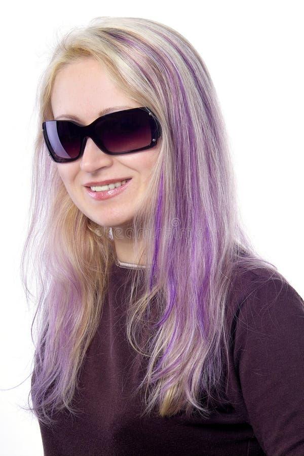 nätt violet för flickahår royaltyfri bild