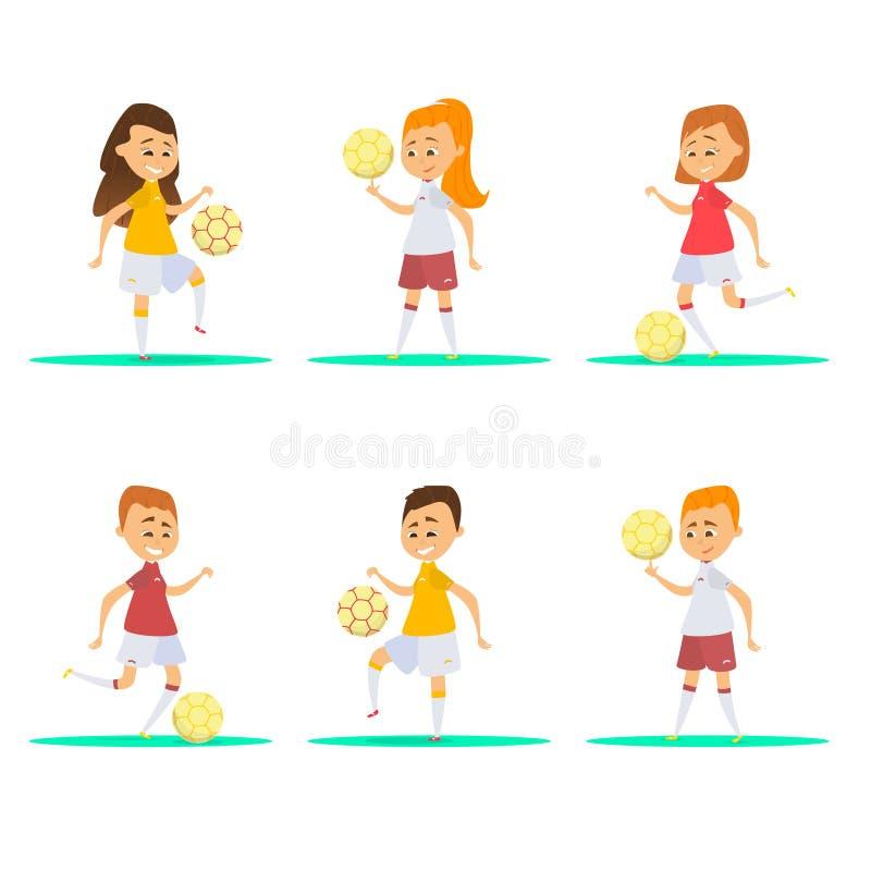 Nätta fotbollsspelare Lyckliga barn royaltyfri illustrationer