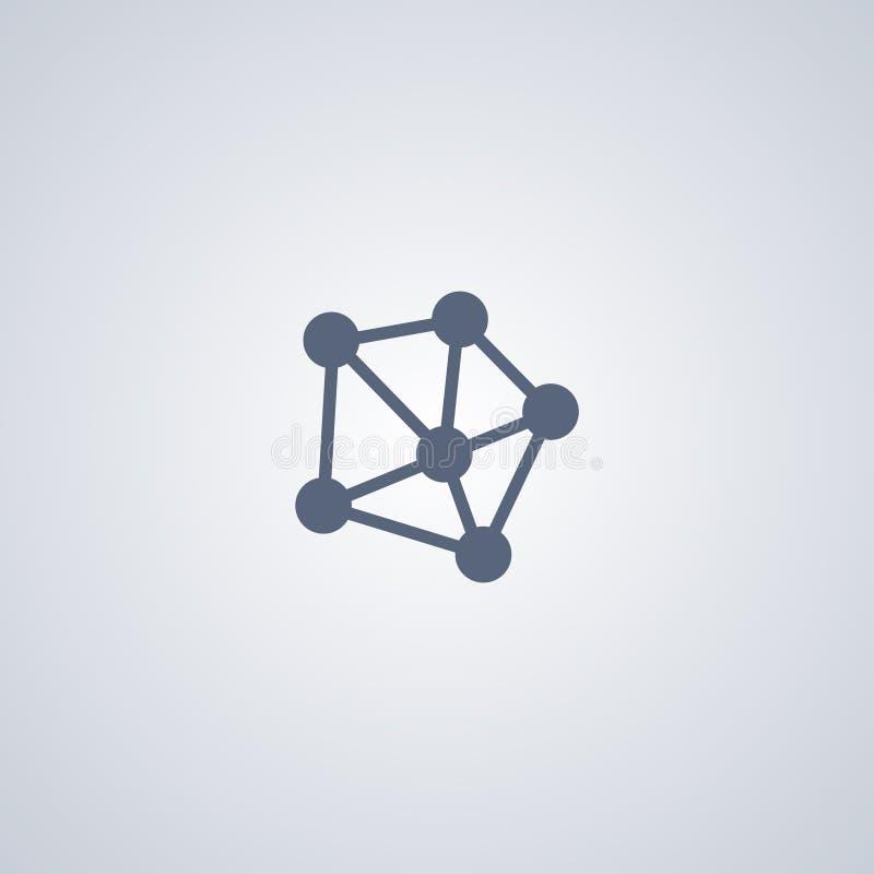 Nätverk anslutning, bästa plan symbol för vektor stock illustrationer