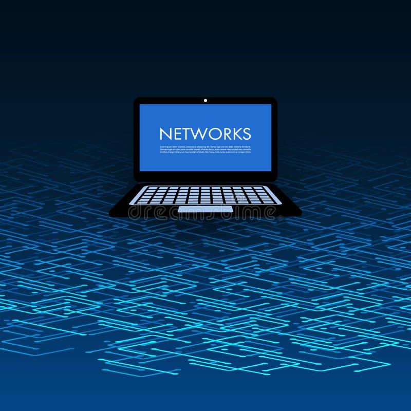 Nätverk anslutningar, rörlighet - minnestavlaPC på blått 3D Mesh Pattern stock illustrationer