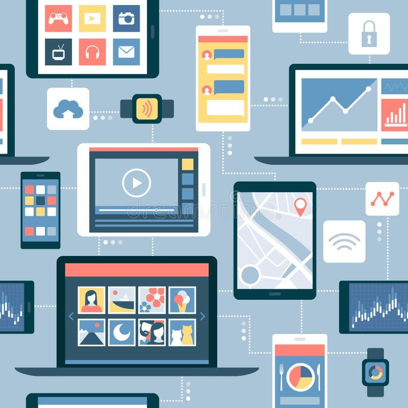 Nätverk av apparater och mobilapps stock illustrationer