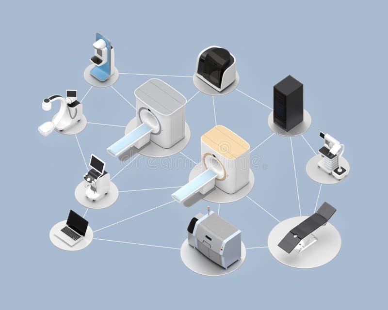 Nätverk av det yrkesmässiga systembegreppet för medicinsk kopiering vektor illustrationer