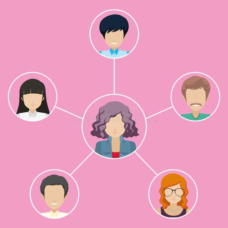 Nätverk av olika individer royaltyfri illustrationer