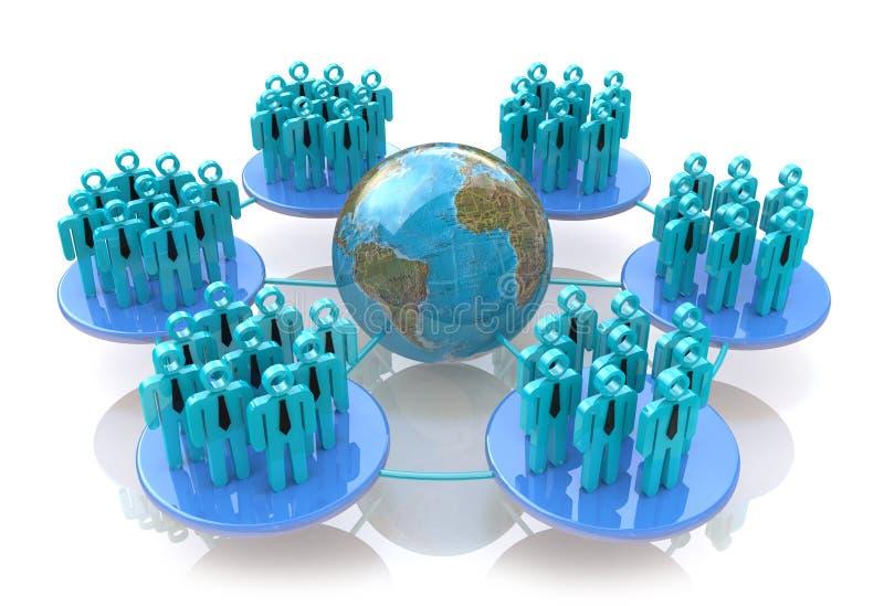 Nätverk av sociala grupper stock illustrationer