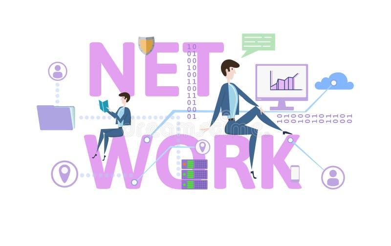 Nätverk Begreppstabell med nyckelord, bokstäver och symboler Kulör plan vektorillustration på vit bakgrund royaltyfri illustrationer