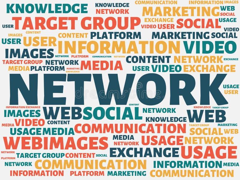 NÄTVERK - bild med ord som förbinds med det SOCIALA MASSMEDIA för ämne, ord, bild, illustration stock illustrationer