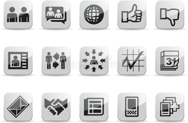 nätverk för 2 set social white för glansigt symboler royaltyfri illustrationer