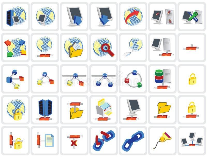 nätverk för 35 symboler vektor illustrationer
