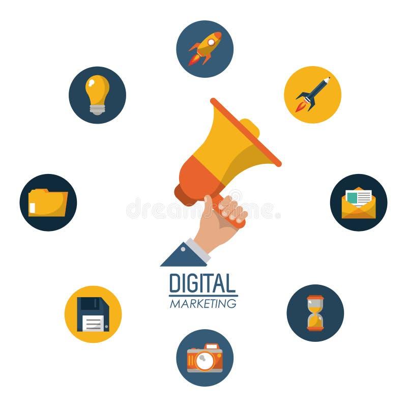 Nätverk för aktion för megafon för Digital marknadsföringshand hållande vektor illustrationer