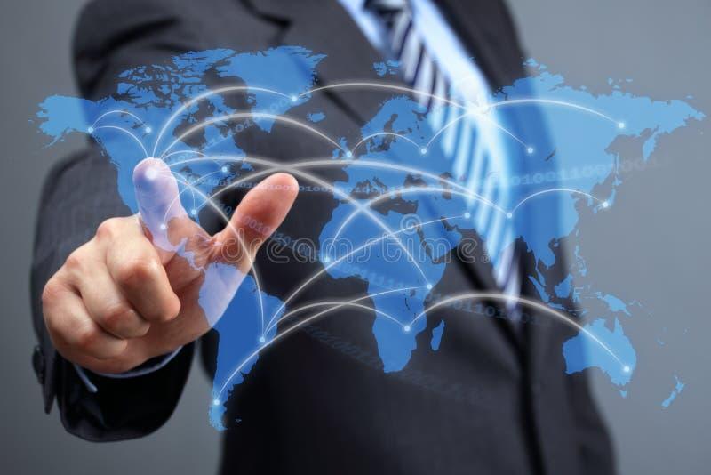 Nätverk för globala kommunikationer royaltyfria foton