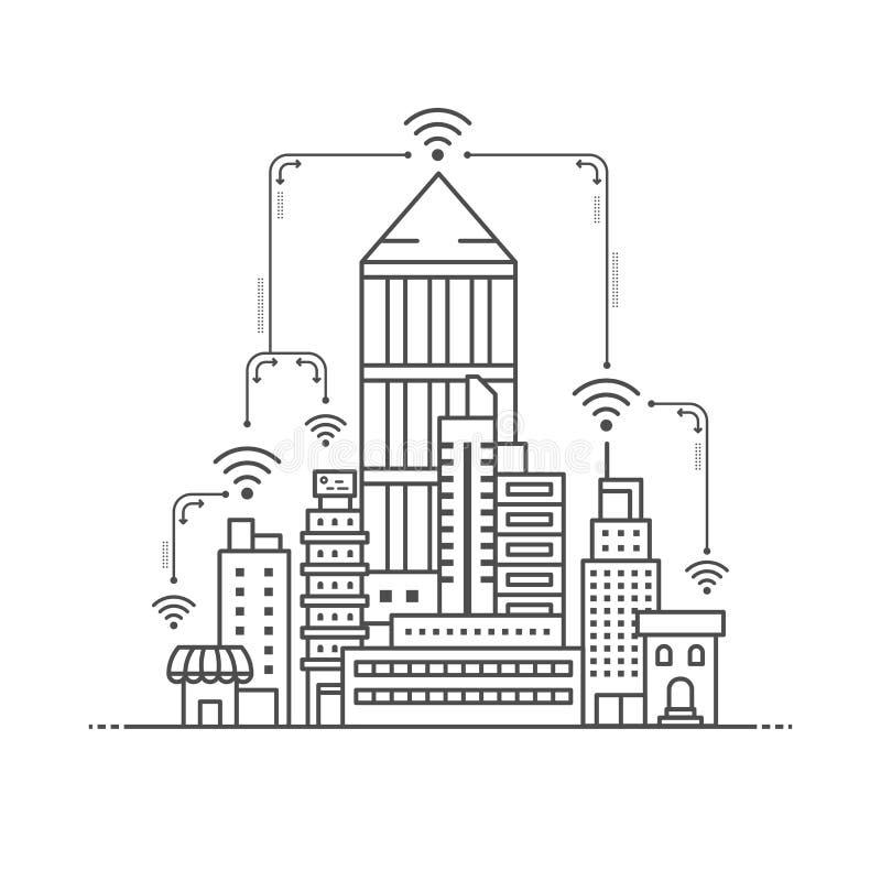 Nätverk för internet för anslutning för vektoraffärsstad, telekomar som bygger översiktsstil royaltyfri illustrationer