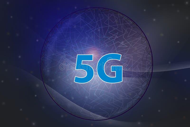 nätverk för internet 5G och intelligent anslutning, kommunikationsbegrepp Mörkt - abstrakt mjuk kurva för blå signalbakgrund vektor illustrationer