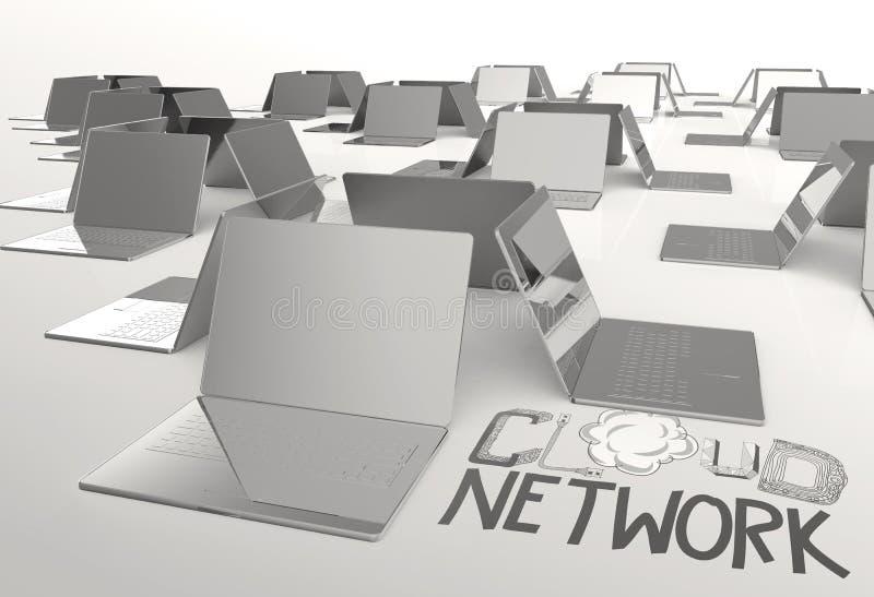 NÄTVERK för MOLN för designord hand dragen och dator för bärbar dator 3d stock illustrationer