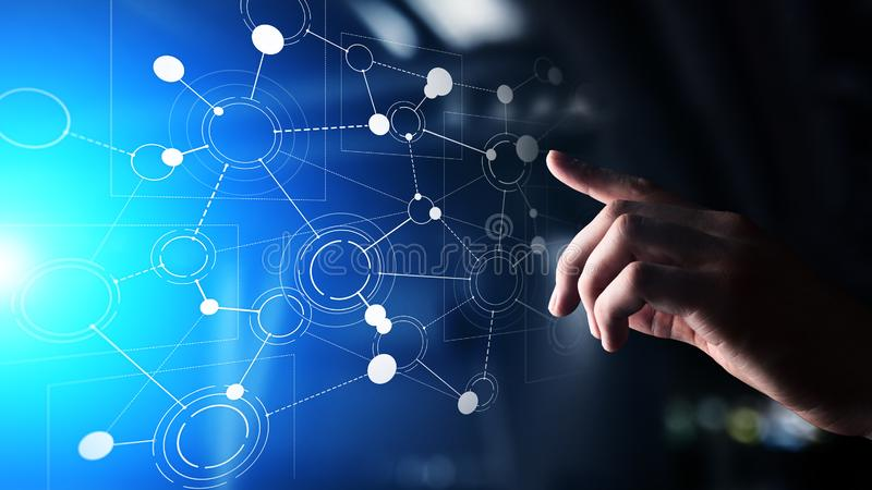 Nätverk för organisationsstruktur, företags förbindelse på den faktiska skärmen Affärs-, finans- och teknologibegrepp arkivbilder